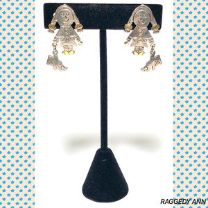 Unsigned Jewelry - SOLD! Raggedy Ann Classic Silver Earrings